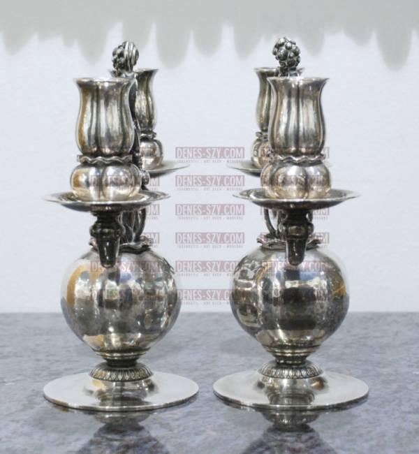 Georg Jensen Silber Leuchter # 324, Granatapfelleuchter