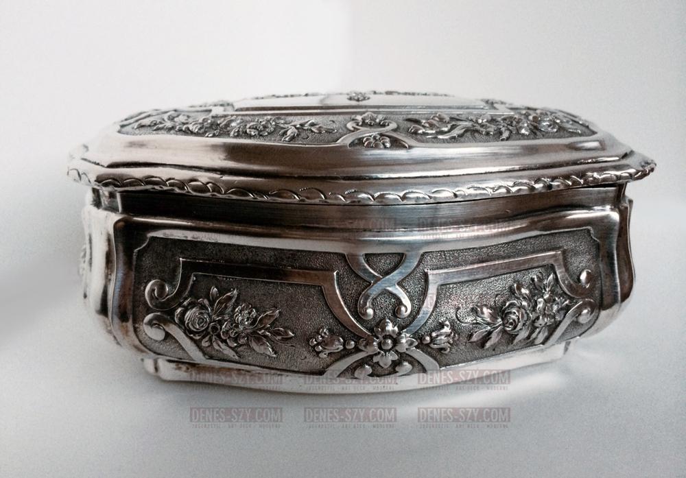 Schwere Deutsche Historismus Silber Zucker Dose Bonbonniere