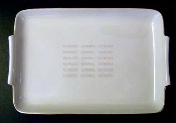 Raw food platter with gold border decoration, Design: Gerhard Marcks 1929, Execution: KPM Berlin 1953, Germany, Cream white porcelain
