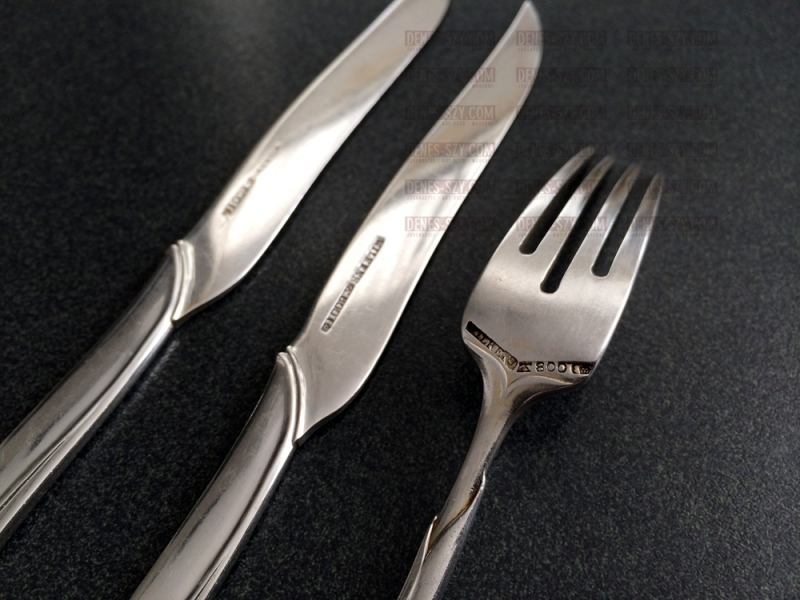 Wilkens, Art Nouveau silver cutlery, Tulip Pattern, fruit fork by Vogeler