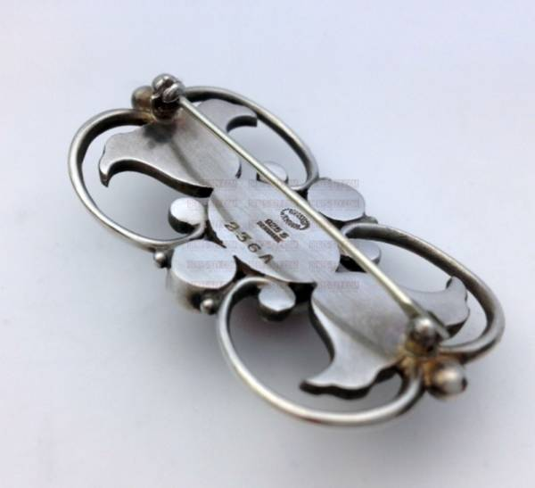 Georg Jensen handcrafted silver jewelry amber brooch 236 A