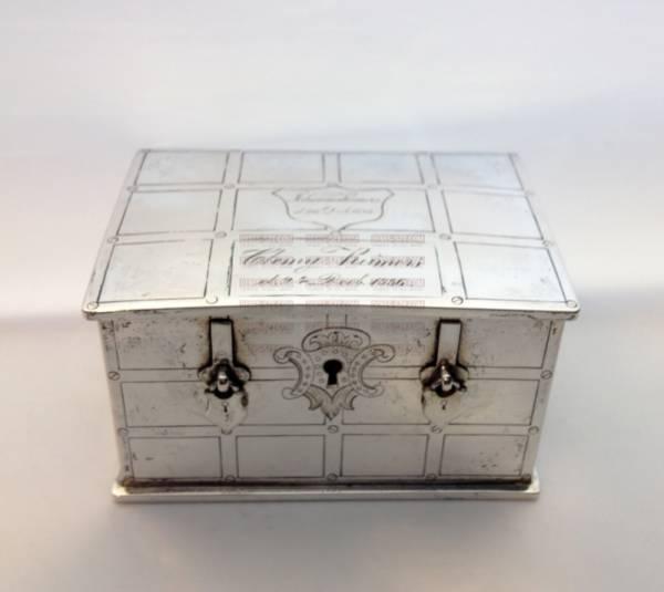 Hamburg 1857/58 Germany 19th C. silver savings box with key,
