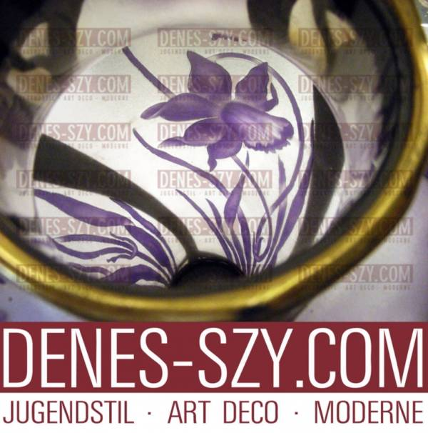 Orivit pewter Val St Lambert Art Nouveau glass vase 2545