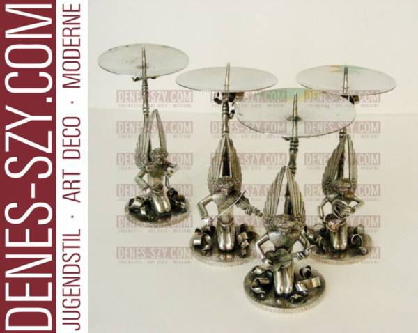 Art Deco Silber ENGELSKAPPELLE, Herbert Zeitner, Kerzenleuchter