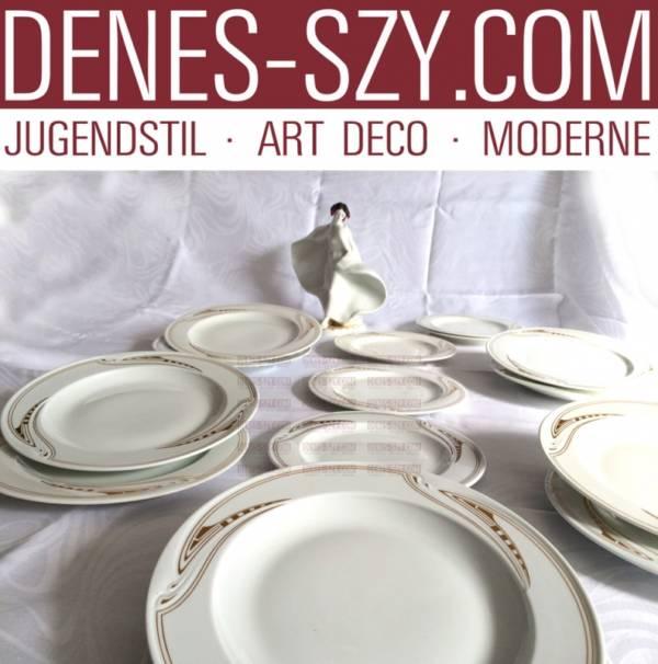 Henry van de Velde, Meissen Art nouveau porcelain dinner plate, whiplash