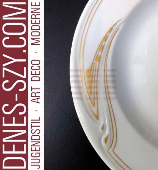 Henry van de Velde, Meissen, porcelain dessert plate, whiplash in gold