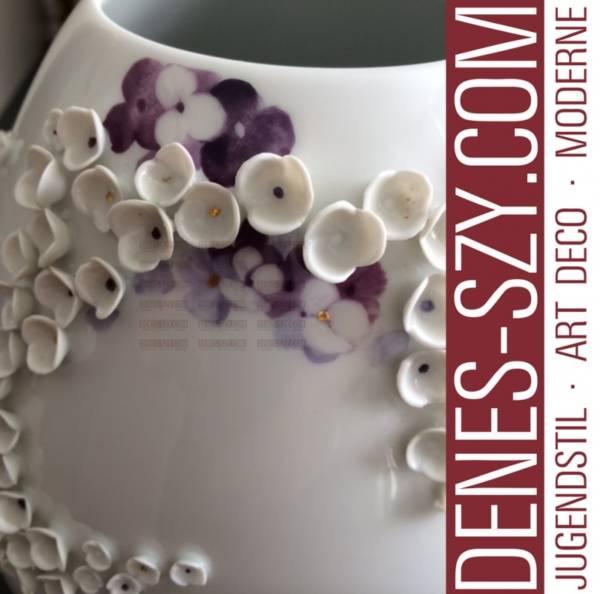 vaso moderna in porcellana di Meissen con fiori a palla di neve