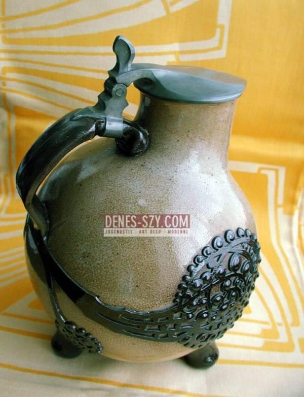 Art Nouveau jug, model: 1758, Design: Richard Riemerschmid approx. 1902, Execution: R. Merkelbach, Grenzhausen Germany after 1909