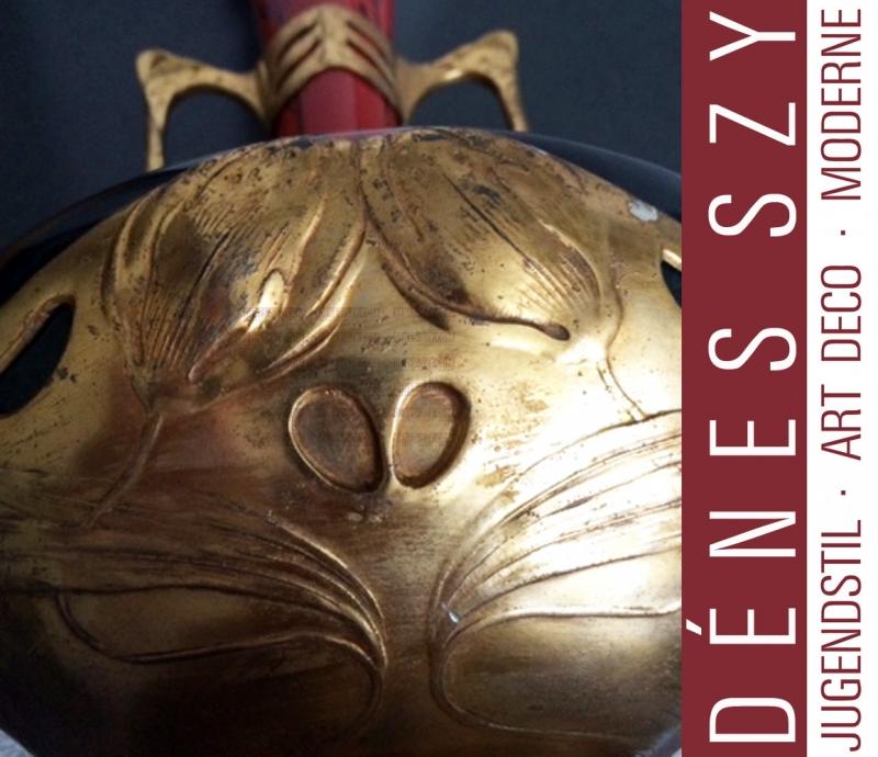 Zsolnay and Osiris Art Nouveau ceramic vase pair pewter mount