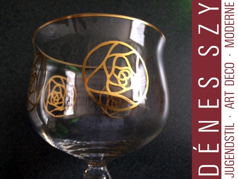 bicchiere da vino in vetro epoca liberty Hans Christiansen la rosa di Darmstadt