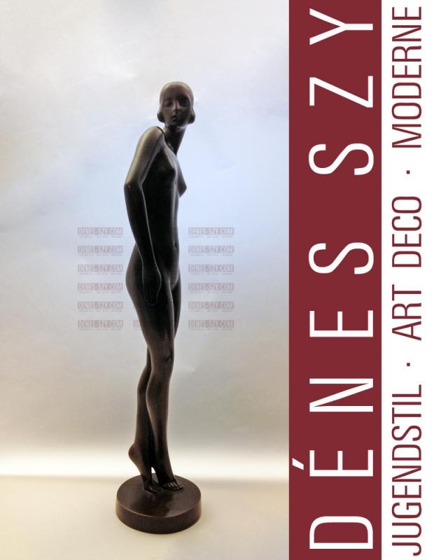 Rudolf ZIESENISS: Weiblicher Akt, Art Deco Bronze ca. 1920