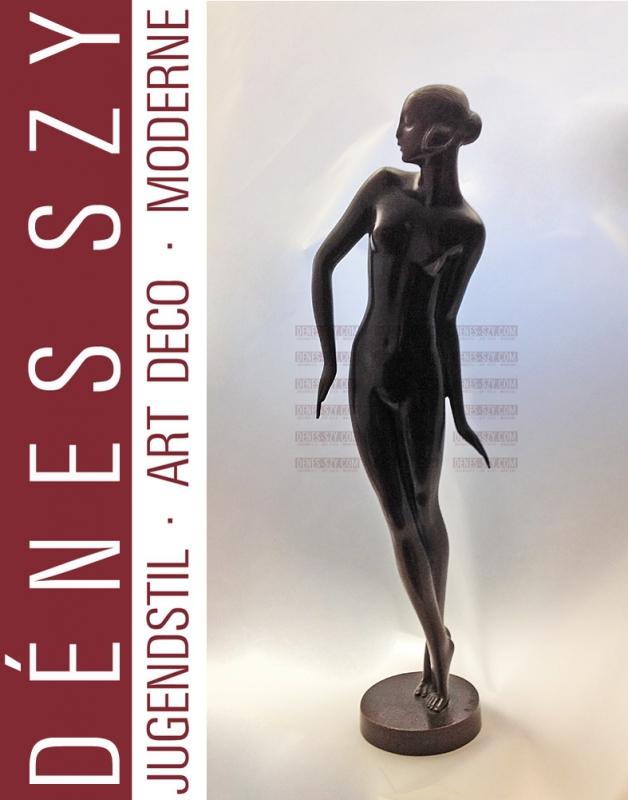 Bronzo di Rudolf Zieseniss La Ballerina Art Deco