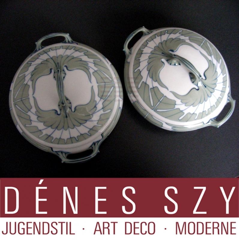 Meissen Art Nouveau porcelain, wing pattern ragout tureen by Hentschel