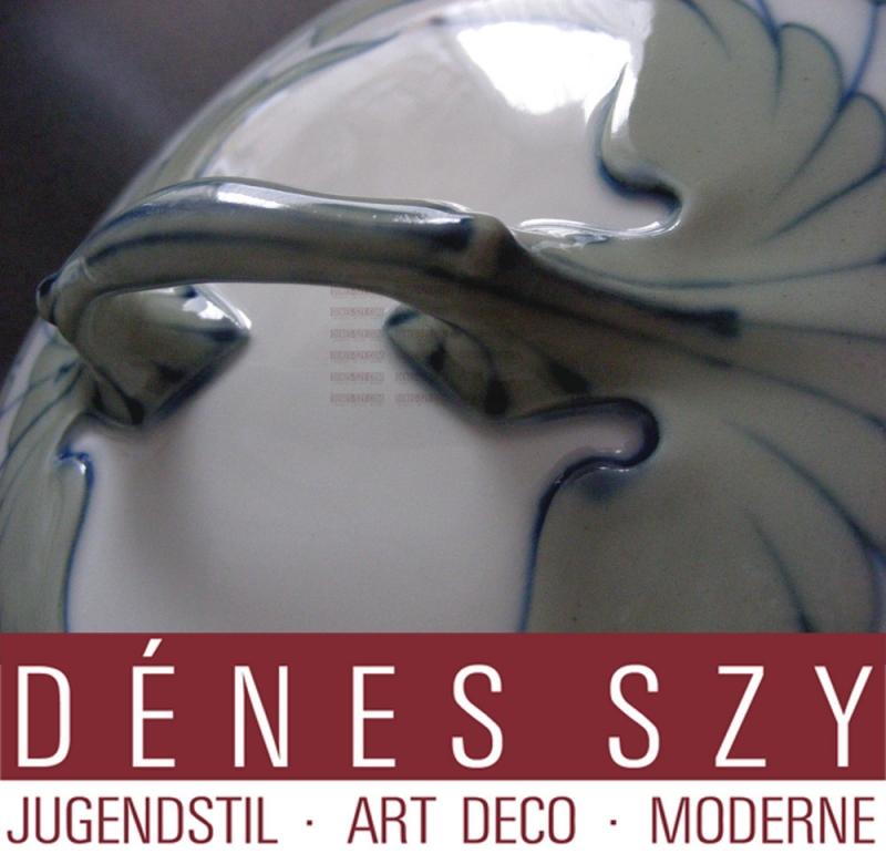 Porcelaine Art Nouveau de Meissen, motif de l'aile, Terrine de ragout BY HENTSCHEL