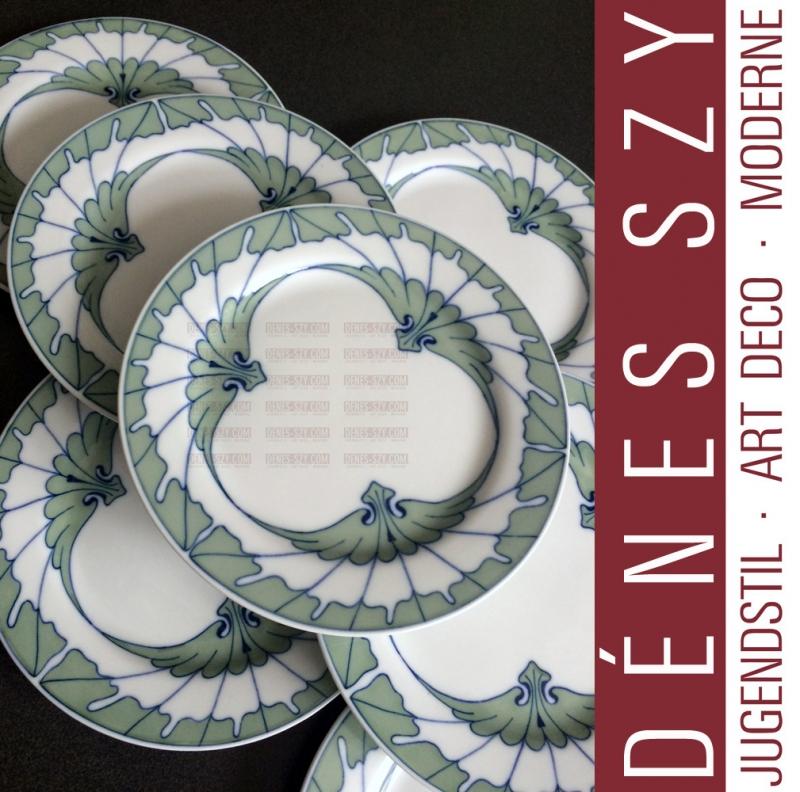 Meissen Art Nouveau porcelain, wing pattern, bread plate by Hentschel