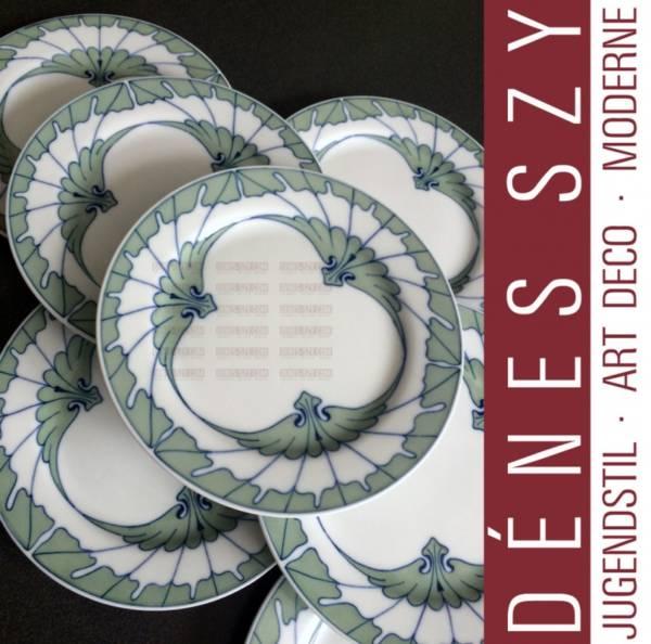 Meissen, porcelaine Art Nouveau, «motif aile», assiette à pain, Hentschel,