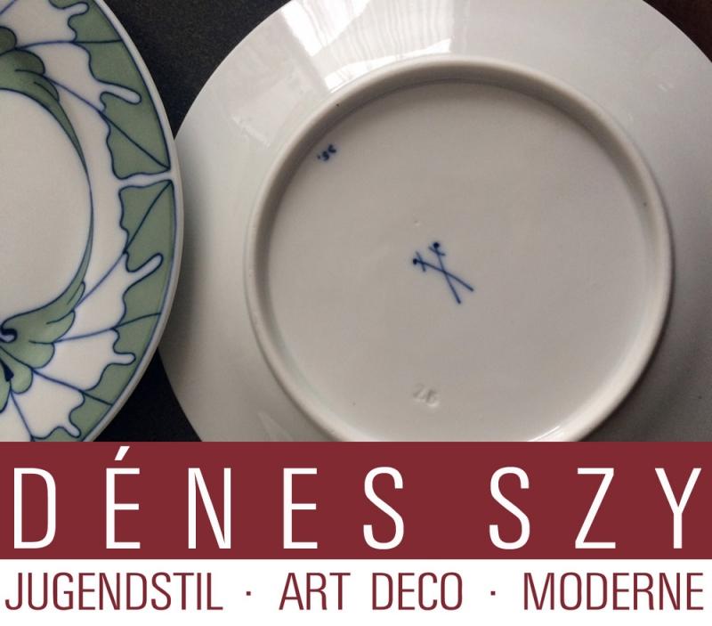 Porcelaine Art Nouveau Meissen, assiette de pain, Motif ailes par Rudolf Hentschel