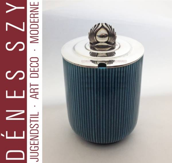 Georg Jensen sterling, Bing & Grondahl porcelain jam jar box #40