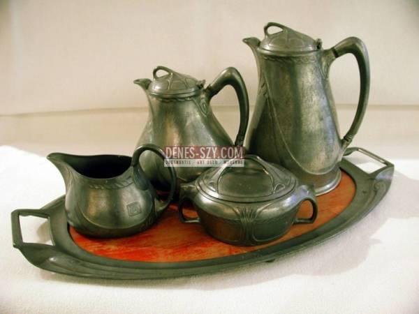 Albin Mueller, HUECK, Jugendstil Tee-, Kaffee-Service, um 1900