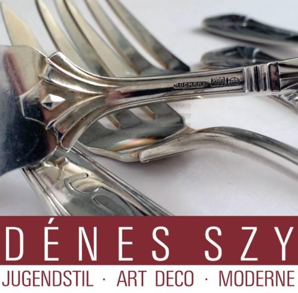 Peter Behrens German Art Nouveau cutlery silver salad fork