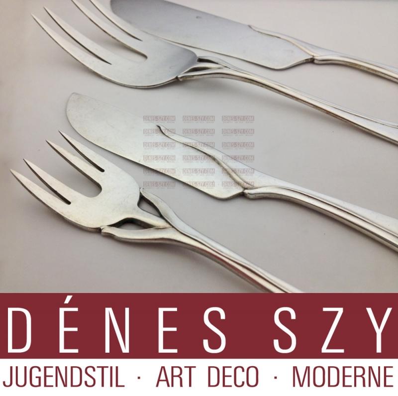 Heinrich Vogeler, Wilkens Bremen, Tulip Pattern, silver fish cutlery,