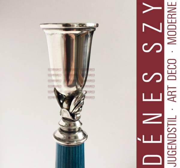 Georg Jensen silver, Bing and Grondahl porcelain candlestick 4001