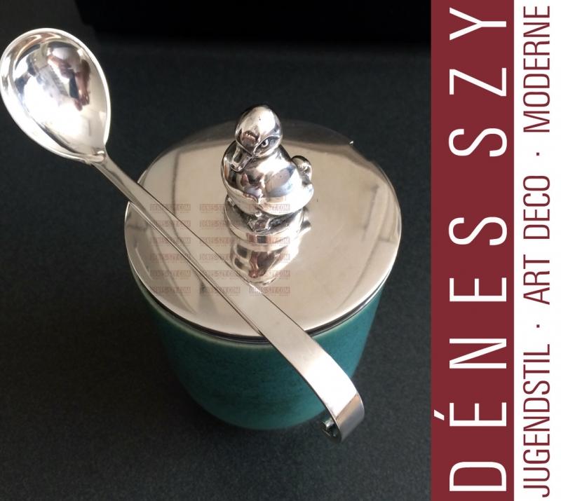 Evald Nielsen Sterling silver and Saxbo ceramic Jelly box Denmark 1940