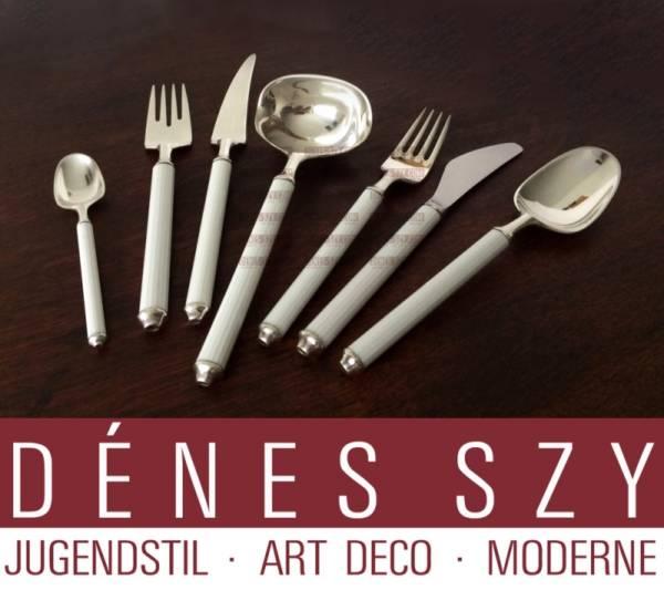 Mid century modern posateria da pesce per 12, variazione 2500, Rosenthal Karl Gustav Hansen, argento 925 con porcellana, 1962 - 1975, Germania
