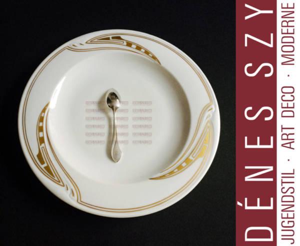 Henry van de Velde, motif coup de fouet, porcelaine de Meissen, Assiette à dîner, en or
