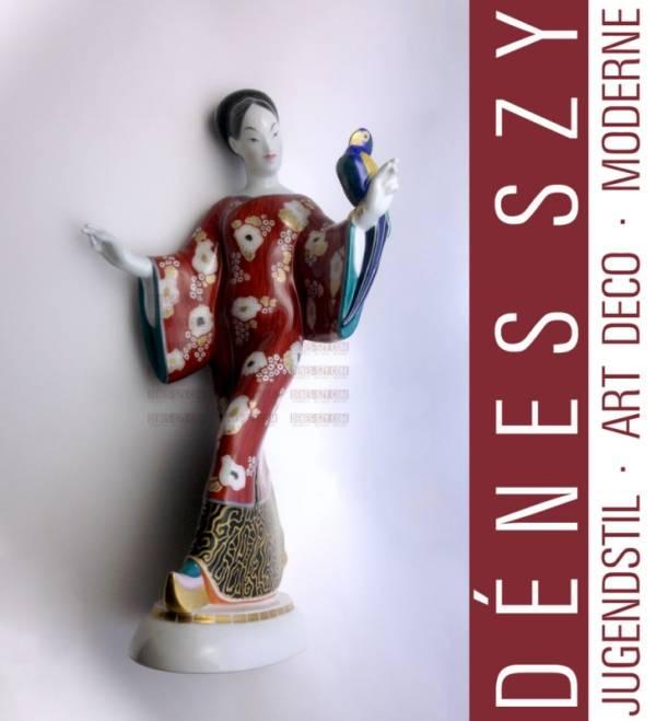HOCHZEITSZUG ++ KPM BERLIN Chinesin mit Papagei  Porzellan Figur