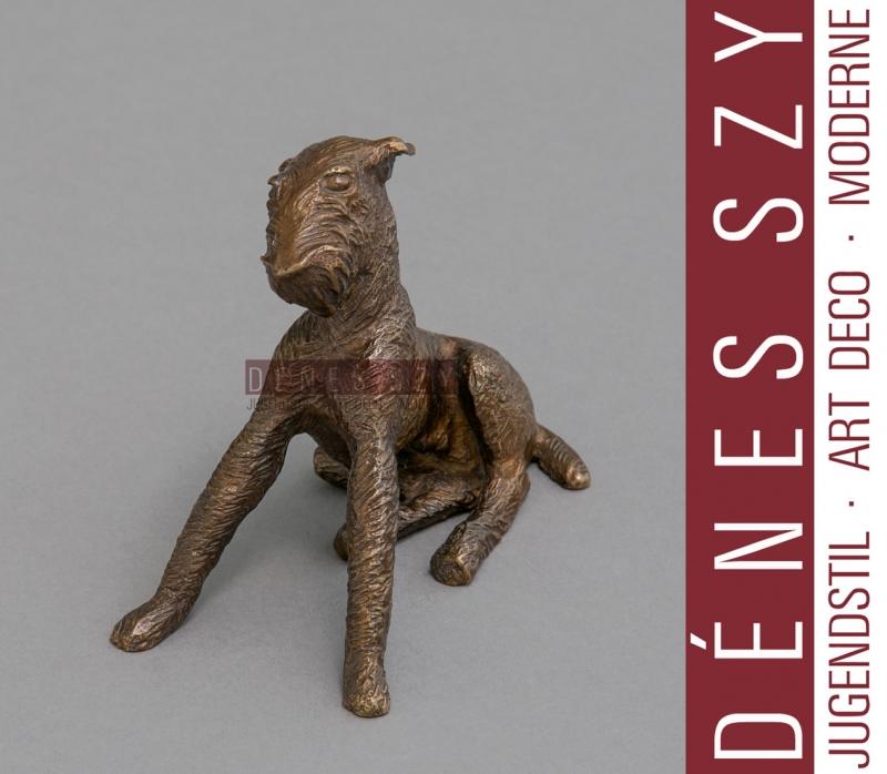 Renée SINTENIS sitzender TERRIER Bronze Figur Berlin 1925 GERMAN