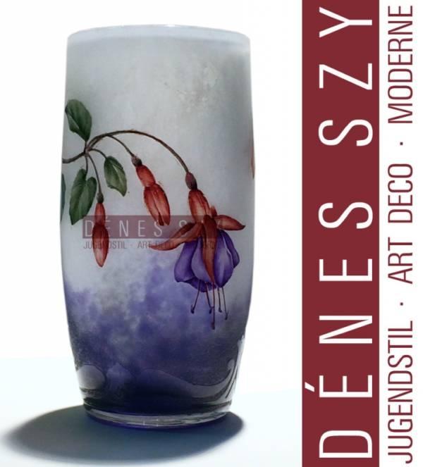 JUGENDSTIL Becher Vase mit FUCHSIA Dekor DAUM Nancy um 1905