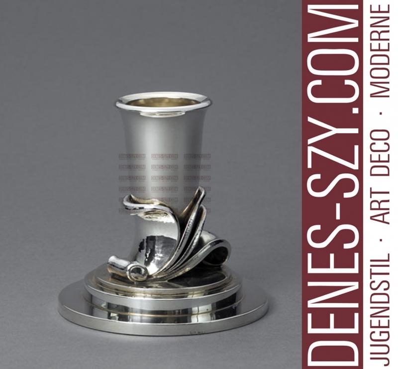 GEORG JENSEN ART DECO Silber Leuchter # 604 A by Harald Nielsen