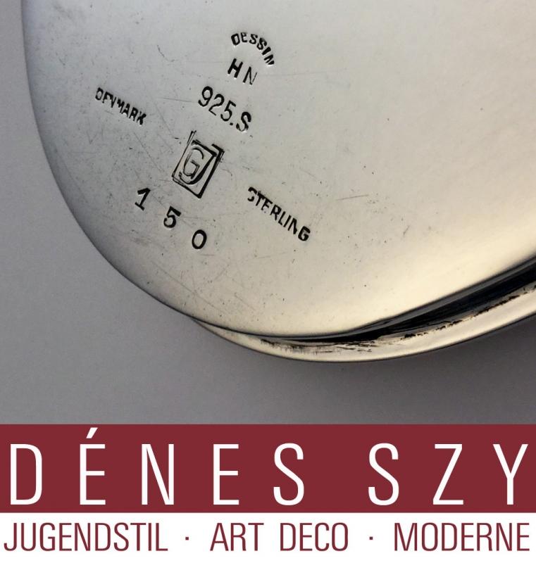 GEORG JENSEN SILBER PYRAMIDE ART DECO Tablett No 150 Delfinserie