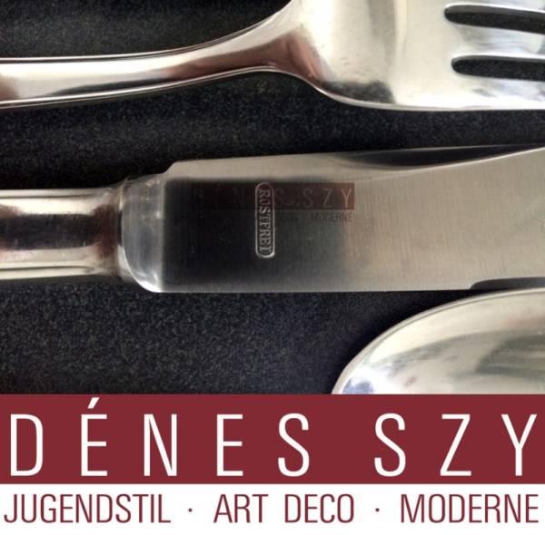 Art Deco Silber Besteck für 12 Personen Lutz & Weiss, Pforzheim