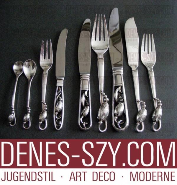 Georg Jensen fourchettes e couteaus à poisson en argent motif magnolia