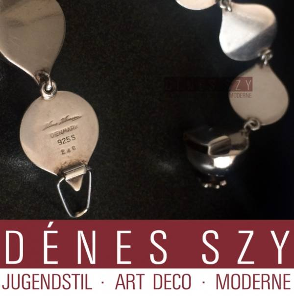Bracciale artigianale di Hans Hansen Art Deco in argento sterling n 246