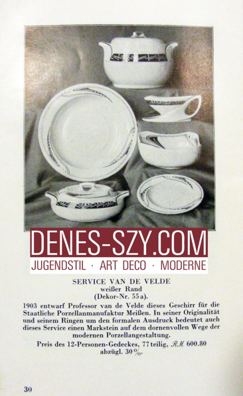 Henry van de Velde, Peitschenhieb blue, Meissen porcelain soup plate