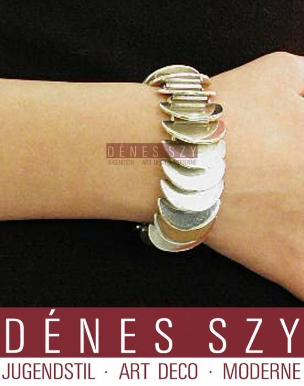 Georg Jensen silver, Astrid Frog jewelry, disk bracelet 169