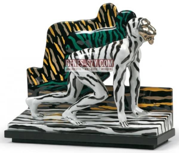 Salomé (Wolfgang Cihlarz), uomo tigre nero bianco, porcellana di Rosenthal