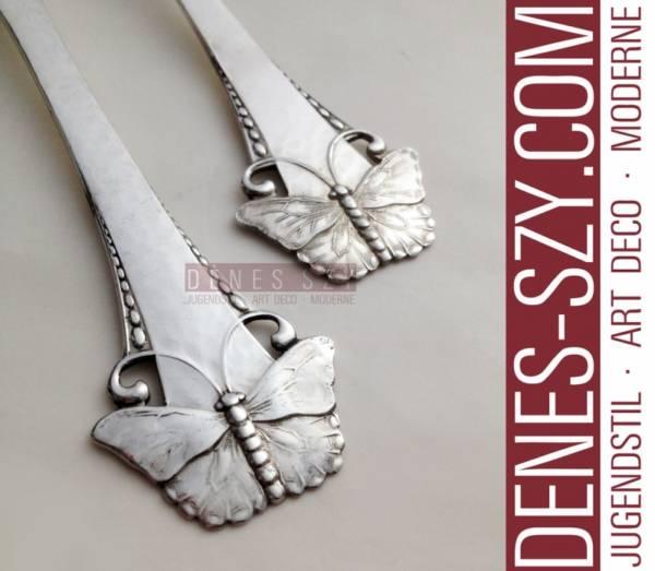 Art Nouveau Silber DESSERTGABEL Schmetterling Muster SOMMERFUGL