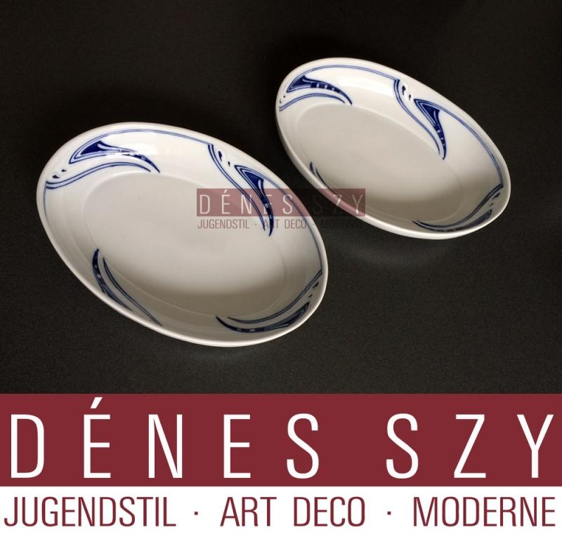 Henry van de Velde Meissen 1900 ciotola ovale per verdure colpo di frusta stile liberty