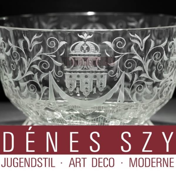 Josef Lobmeyr Vienne Autriche, bol en cristal à motif Maria Theresa,
