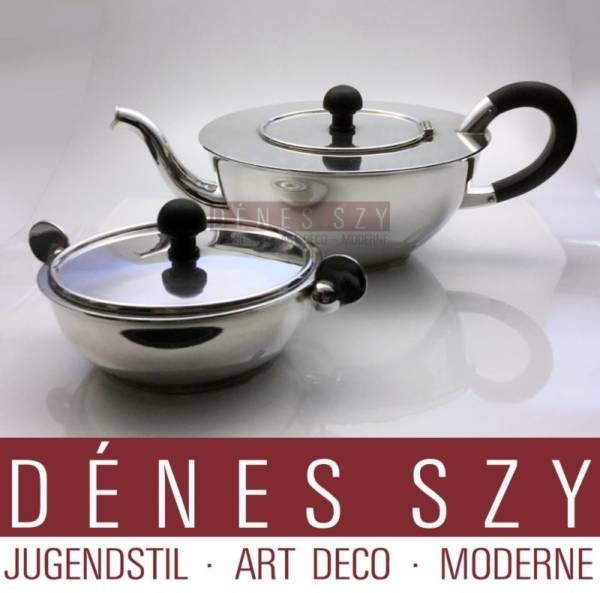 PAULA STRAUS Art Deco Silber 800 Teekanne von BRUCKMANN