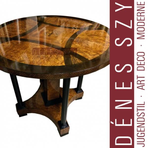 J. M. OLBRICH tavolo tondo in stile liberty in legno di platano e acero