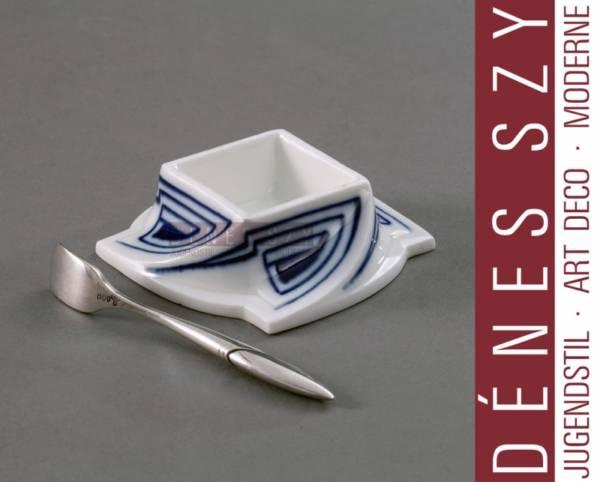 Henry van de Velde whiplash pattern, Meissen china salt dishes