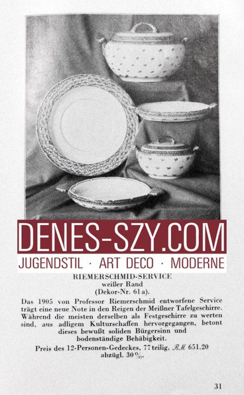MEISSENER JUGENDSTIL 1900  Deckelterrine Muster Riemerschmid