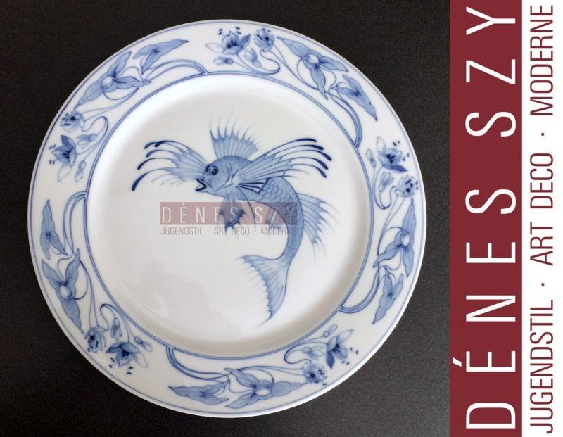 Meissener Jugendstil Porzellan Teller der HAPAG mit Drachenfisch