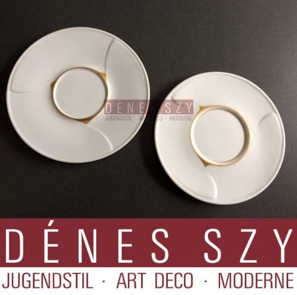 Henry van de Velde, Meissen, porcelain saucer, whiplash in gold