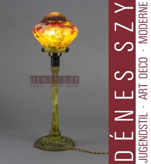 DAUM NANCY FRENCH Art Nouveau 1900 Tischlampe Hagebutten